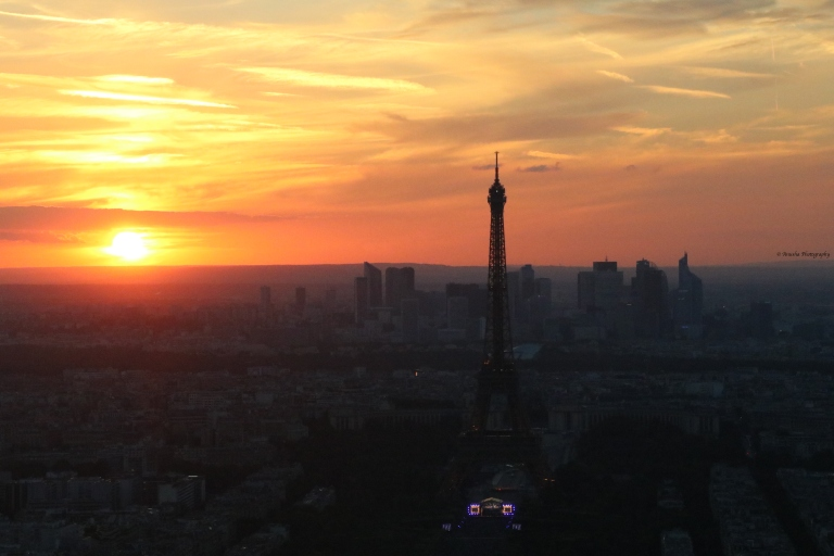 Parisien Sunset-Montparnasse-Paris-Eiffel-Tower-Bastille-Day-evening-Iron-Lady-of-France-giftofparis.com